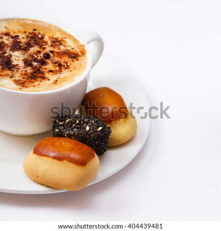 Cup of coffee and sweets top view square isolated. Coffee concept. Selective focus  - stock photo