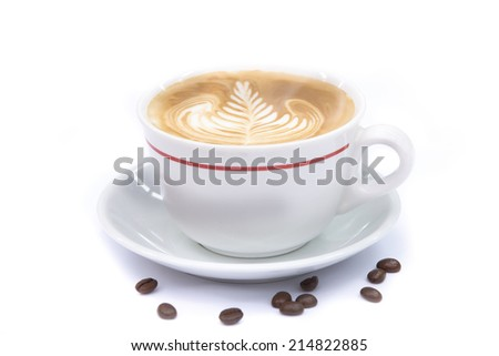 cup of coffee art latte or cappuccino on white background - stock photo