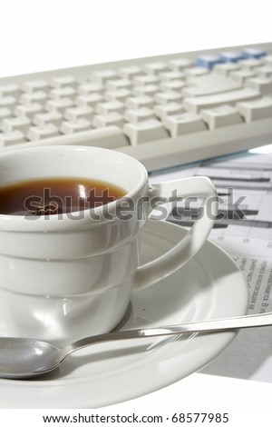 Cup of coffee at office - stock photo