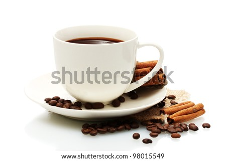 cup of coffee, beans and cinnamon sticks isolated on white - stock photo