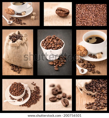 Cup of coffee beans on the table - stock photo