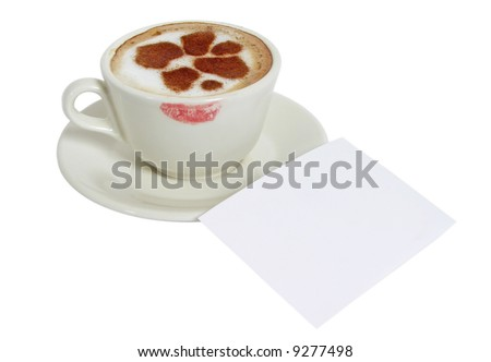 Cup of coffee-cappuccino with cinnamon drawings of hearts on white background