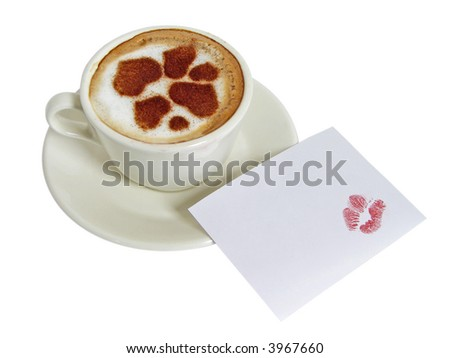 Cup of coffee-cappuccino with cinnamon hearts and with cut-away with lipstick traces