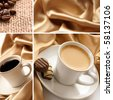 cup of coffee collage - stock photo