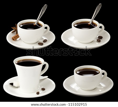 cup of coffee collage with beans isolated on black background - stock photo