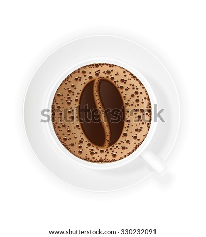 cup of coffee crema and symbol beans illustration isolated on white background