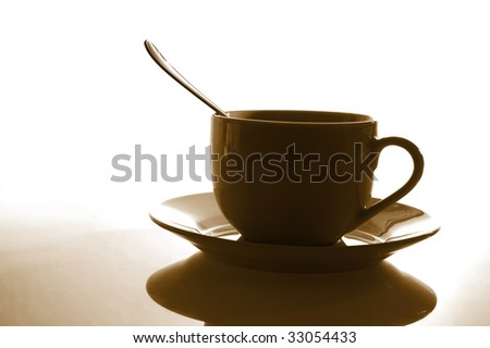 cup of coffee for breakfast in the office - stock photo