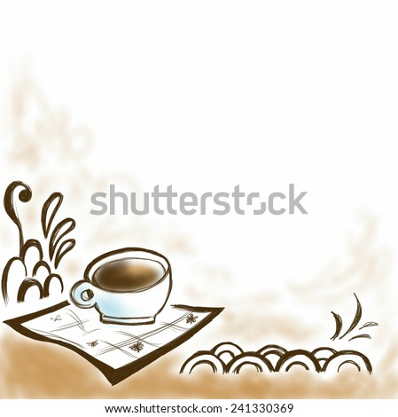 Cup of coffee, hand draw illustration - stock photo