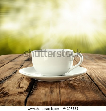 cup of coffee in garden