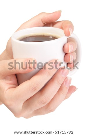 Cup of coffee in hands on white background (isolated, Clipping Path)