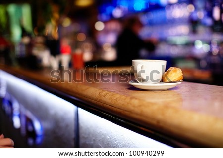 Cup of coffee in the restaurant - stock photo