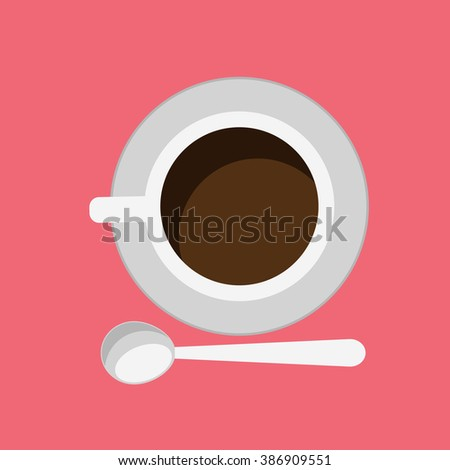 Cup of coffee isolated design flat. Coffee cup, coffee mug isolated, coffee isolated, coffee beans, cup of tea isolated, cup of cappuccino, cup of espresso, beverage cup mocha hot illustration - stock photo