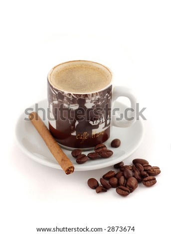 Cup of coffee isolated on a white background. - stock photo