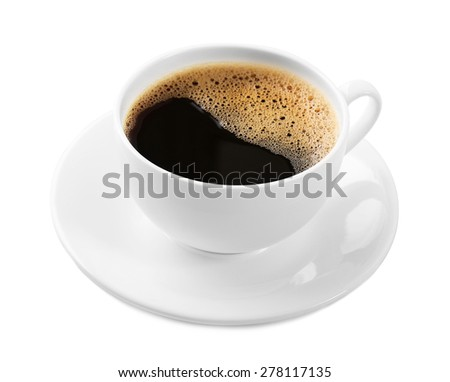 Cup of coffee isolated on white - stock photo