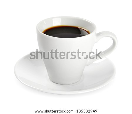 Cup of coffee isolated on white background. Clipping path included. - stock photo