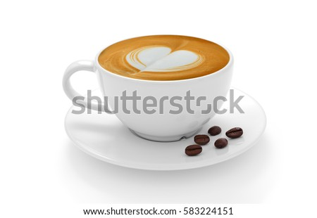 Cup of coffee latte and coffee beans isolated on white background