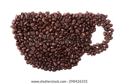 cup of coffee made of coffee beans isolated - stock photo
