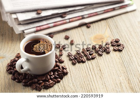 Cup of coffee, newspaper and the word news on old wooden table - stock photo