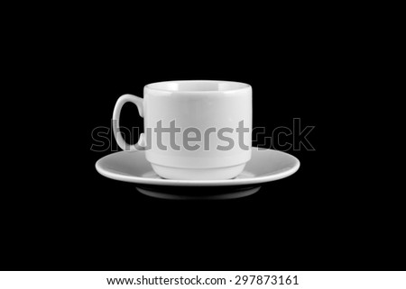 Cup of coffee on a black background - stock photo