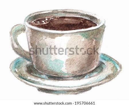 cup of coffee on a white background - stock photo