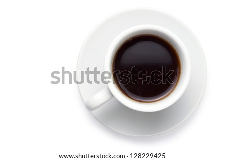 cup of coffee on a white background close-up