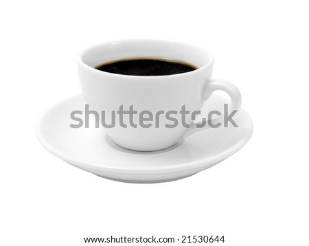 Cup of coffee on a white background (isolated with path). - stock photo