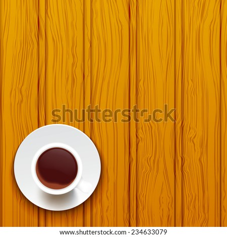 Cup of coffee on a wooden surface. Raster copy. - stock photo