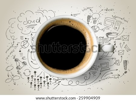 Cup of coffee on background of business strategy - stock photo