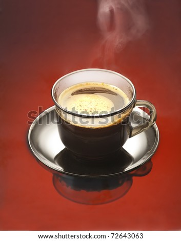 cup of coffee on red background - stock photo