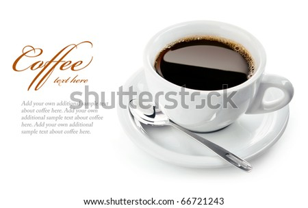 cup of coffee on saucer with spoon isolated on white background - stock photo