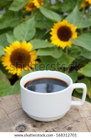 cup of coffee on sunflowers background - stock photo