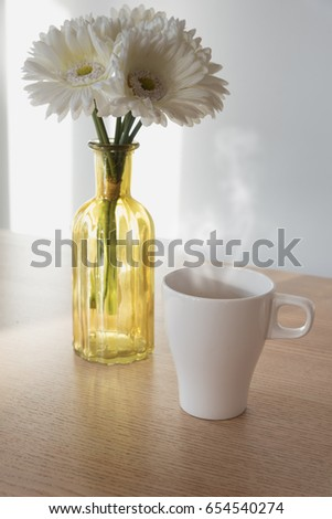 Cup Coffee On Table Flower Vase Stock Photo Edit Now 654540274