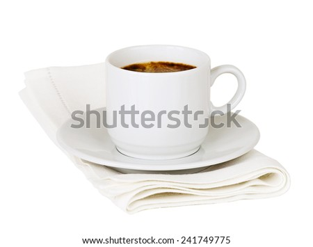 Cup of coffee on the white background