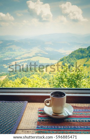 Cup Of Coffee On The Windowsill Cafe In The Mountains
