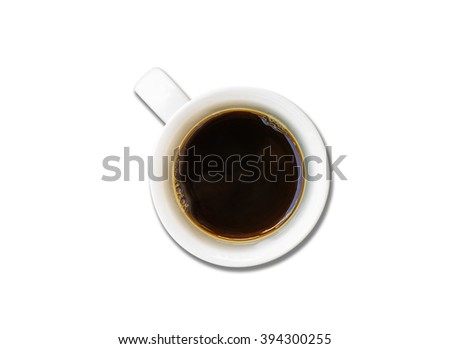 Cup of coffee on white background. - stock photo