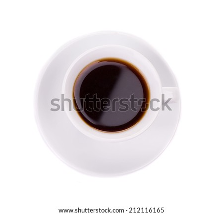 cup of coffee on white background closeup