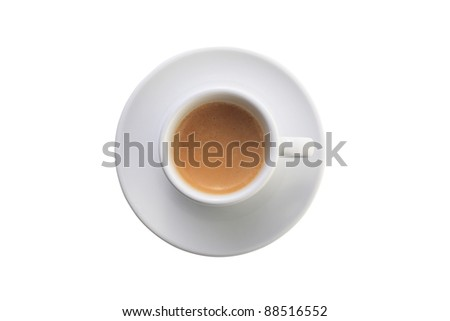 Cup of coffee on white background (directly above, shallow focus)