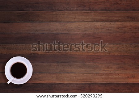 Table Top View cup coffee on wooden table top stock photo 188696288 - shutterstock