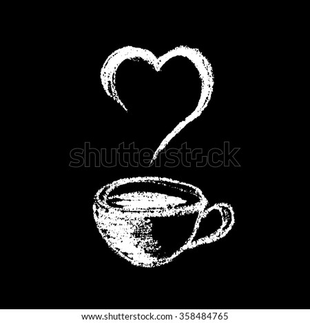 Cup of coffee or tea, drawing with chalk on black board - stock photo
