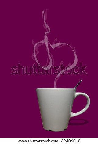 Cup of coffee or tea with steam in shape of heart - stock photo