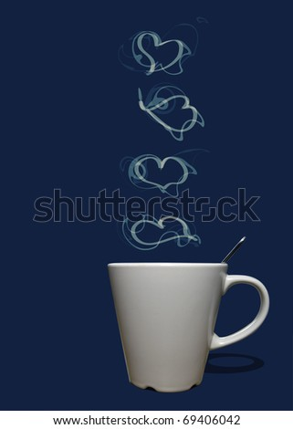Cup of coffee or tea with steam in shape of hearts - stock photo