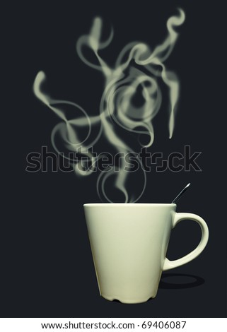 Cup of coffee or tea with steam in shape of text: hot - stock photo