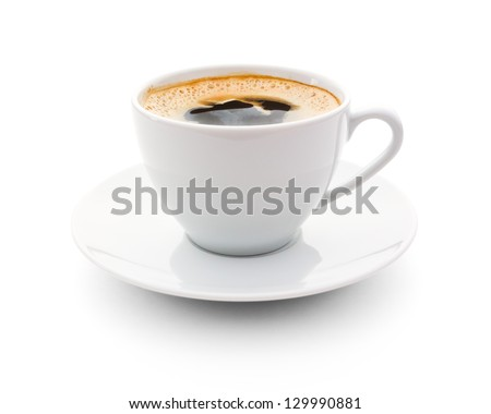 cup of coffee over white background - stock photo