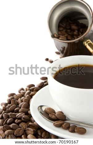 cup of coffee, pot and beans isolated on white background - stock photo