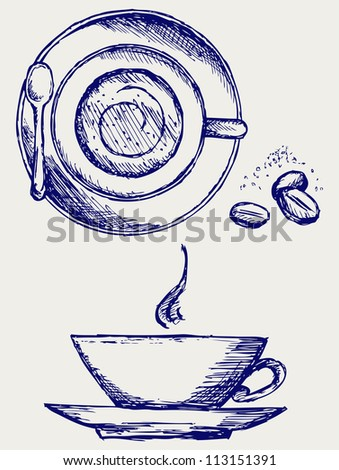 Cup of coffee. Raster version - stock photo