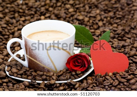 cup of coffee, red rose and heart