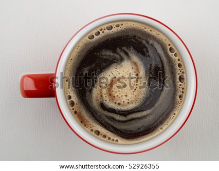 Cup of coffee shot from above - stock photo