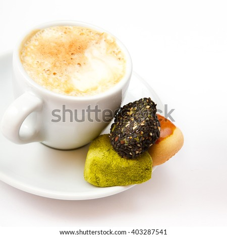 Cup of coffee, sweets, square. Coffee concept. Selective focus. - stock photo