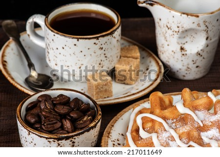 Cup of coffee, waffles and vanilla ice cream - stock photo