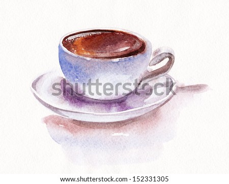 Cup of coffee, watercolor - stock photo